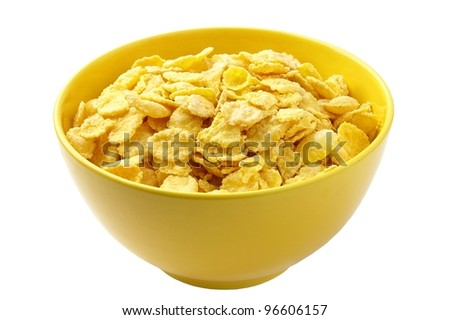 corn flakes in a bowl of yellow on a white background - stock photo