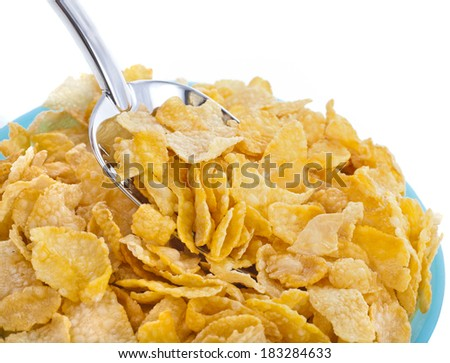 corn flakes in bowl isolated on the white backgound  - stock photo