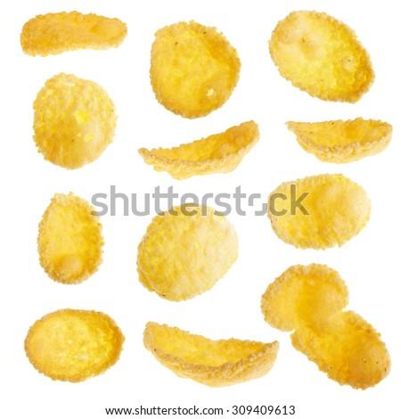 Corn flakes isolated on white background - stock photo
