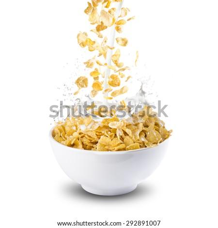 Corn Flakes With Milk Splash - stock photo