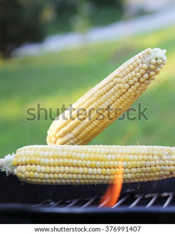 corn grilling - stock photo