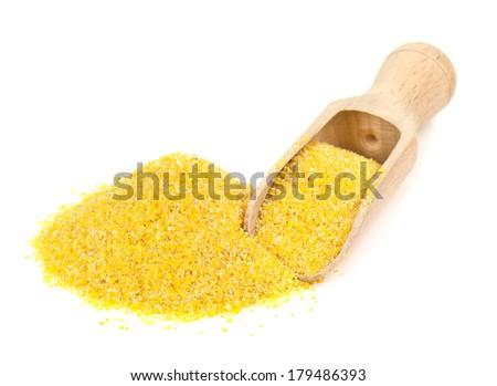 corn grits on white background - stock photo