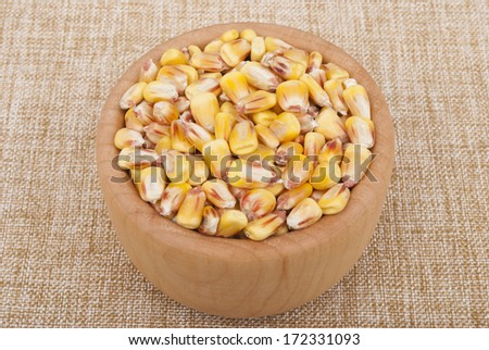 Corn on the plate. - stock photo