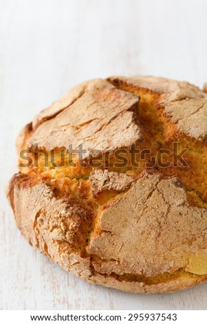 cornbread on white wooden background - stock photo
