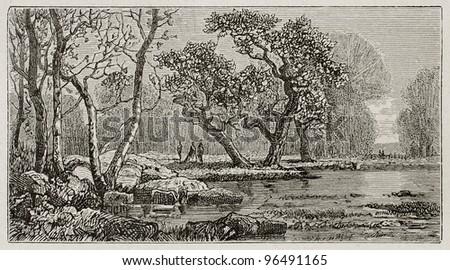 Corneilles pond old view, Fontainebleau forest, France. Created by Grenet, published on Le Tour du Monde, Paris, 1867 - stock photo