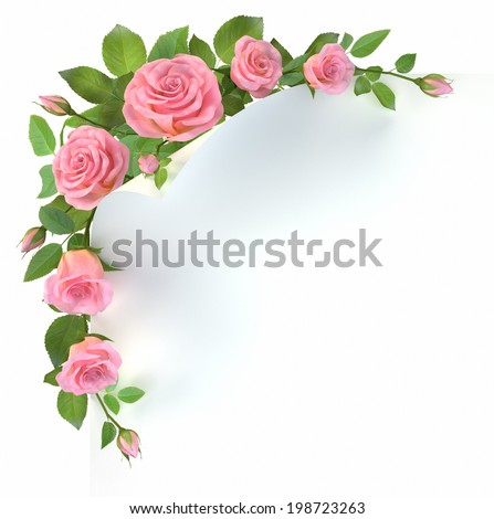 Corner border with roses branches on white. 3d illustration. - stock photo