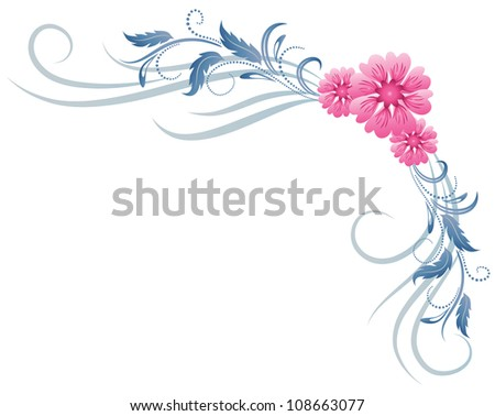 Corner floral ornament. Raster version of vector. - stock photo