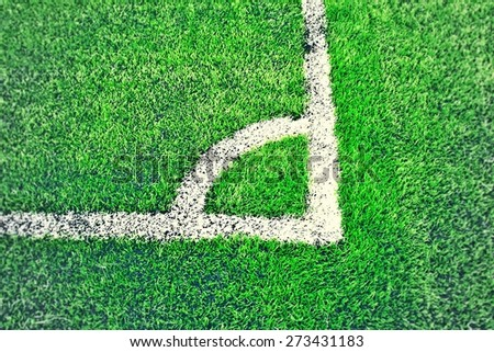 Corner of a synthetic football field  - stock photo