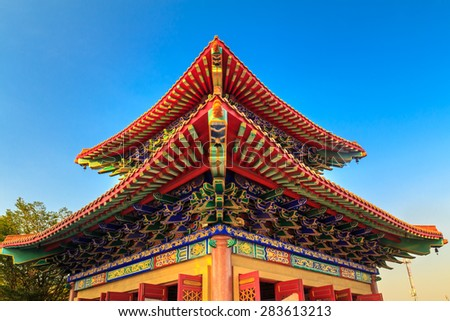 Corner of Chinese temple roof - stock photo