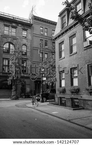 Corner of Commerce and Barrow Street in West Village, New York - stock photo