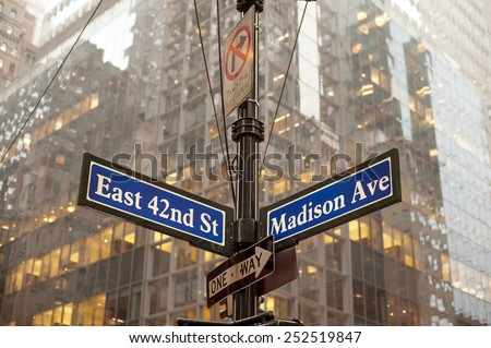 Corner of 42nd and Madison ave in midtown Manhattan, NYC - stock photo