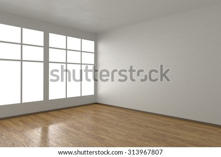 Corner of white empty room with windows and wooden parquet floor, 3D illustration - stock photo