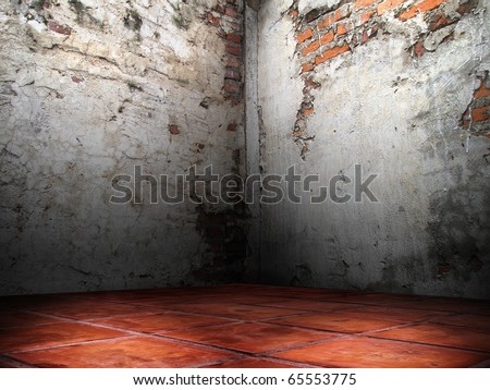 Corner room of the cracks of the brick walls cement plaster red floor - stock photo