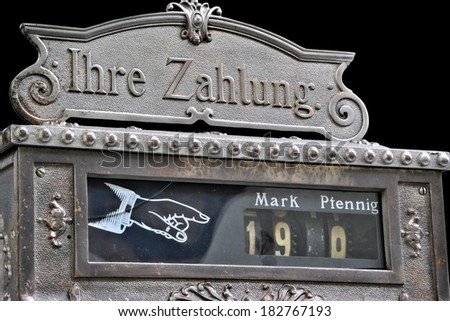 """Corner Shop with German title """"Ihre Zahlung"""", translation: your payment - stock photo"""