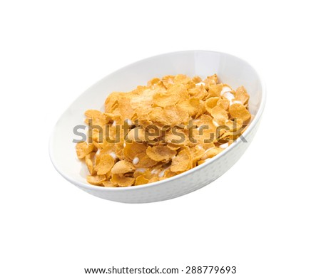 Cornflakes in porcelain bowl isolated on white background - stock photo