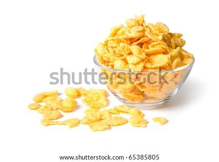 CornFlakes isolated on a white background - stock photo
