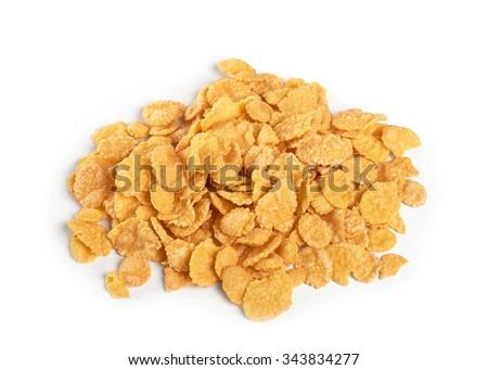 Cornflakes isolated on white background. Close up. - stock photo