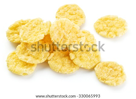 Cornflakes on a white background.  - stock photo