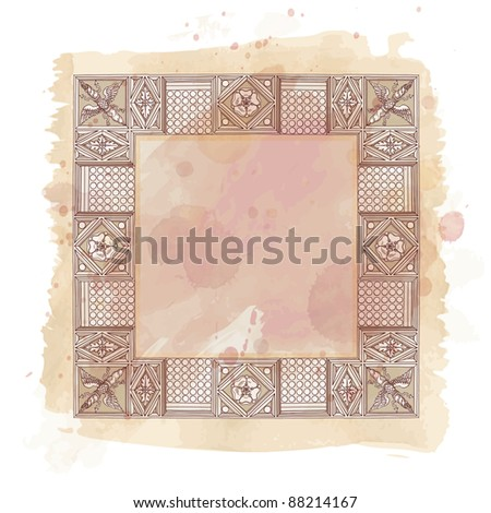 Cornice entablature - hand draw sketch doric architectural order & vintage watercolor background. Bitmap copy my vector id 87989017 - stock photo