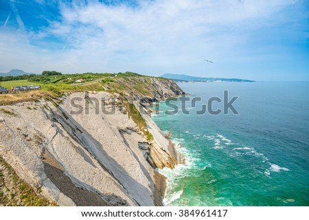Corniche d'Urrugne, Atlantic Ocean, Basque Country - Pays Basque, Aquitaine, France - stock photo