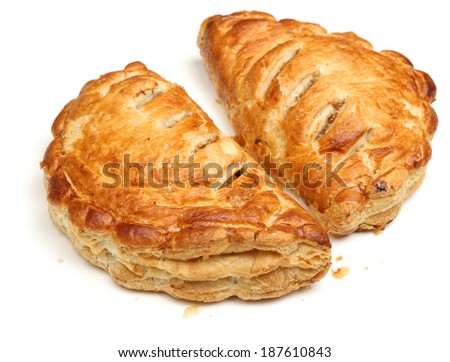 Cornish pasties on white background. - stock photo
