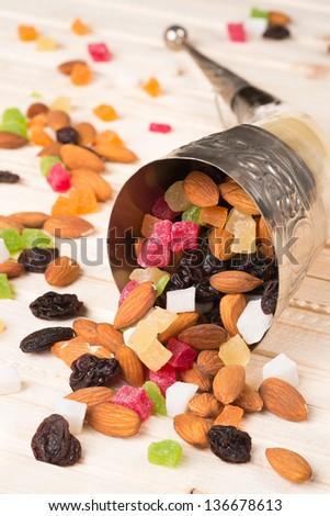 Cornucopia with dried fruit - stock photo
