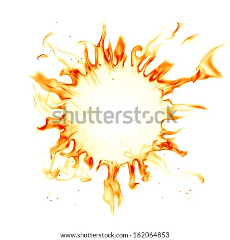 Corona sun. Fire flames isolated on white background. - stock photo