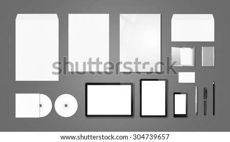 Corporate branding mockup template, isolated on dark grey background - stock photo