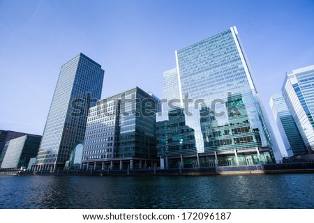 Corporate building Financial Skyscrapers Office center in the Canary Wharf, London, UK  - stock photo