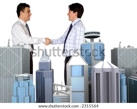 corporate business deal over white with focus on people - stock photo