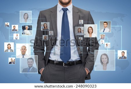 corporate business, people and cooperation concept - close up of businessman over blue background with icons of contacts - stock photo