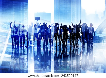 Corporate Business People Success Team Celebration Concept - stock photo