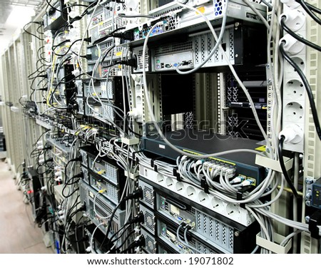 Corporate Data Center and communications equipment - stock photo