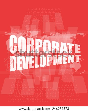 corporate development words on digital screen with world map - stock photo