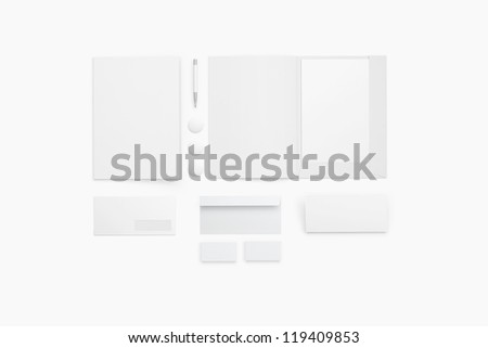 Corporate identity templates / templates:blank, business cards, disk, envelope, pen, folder. /  Isolated with soft shadows - stock photo