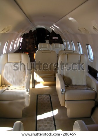 corporate jet interior - stock photo