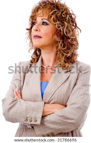 Corporate lady isolated on white background - stock photo