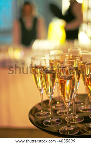 corporate party sparkling champagne glasses - stock photo