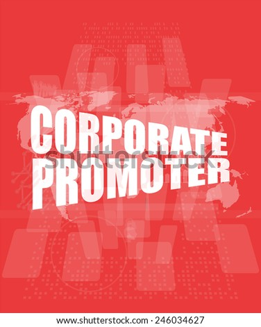 corporate promoter words on digital screen with world map - stock photo