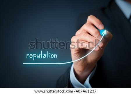 Corporate reputation improvement concept. Businessman (o PR specialist) plan to improve reputation of his company. - stock photo