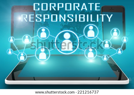 Corporate Responsibility - text illustration with social icons and tablet computer and mobile cellphones on cyan digital world map background - stock photo