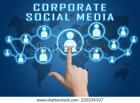 Corporate Social Media concept with hand pressing social icons on blue world map background. - stock photo