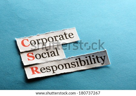Corporate social responsibility (CSR) concept on paper - stock photo