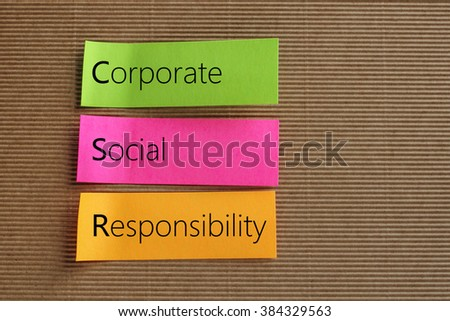 Corporate Social Responsibility (CSR) text on colorful sticky notes - stock photo