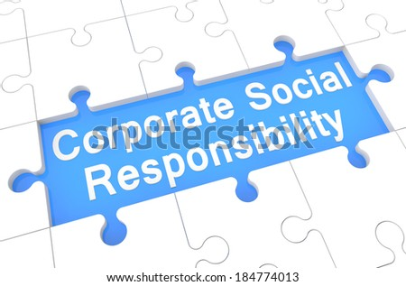 Corporate Social Responsibility - puzzle 3d render illustration with word on blue background - stock photo