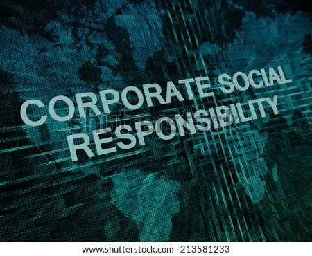 Corporate Social Responsibility text concept on green digital world map background  - stock photo