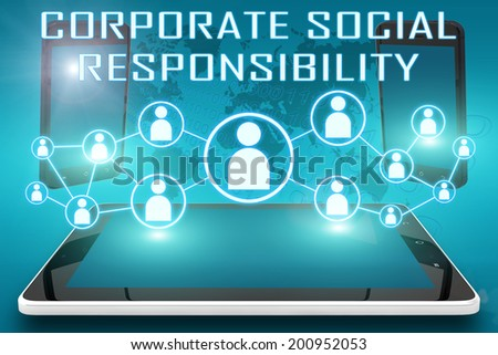 Corporate Social Responsibility - text illustration with social icons and tablet computer and mobile cellphones on cyan digital world map background - stock photo