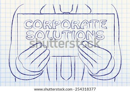 Corporate solutions, sign in the hands of a business man  - stock photo
