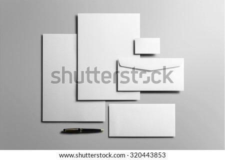 Corporate Stationery, Branding Mock-up, deep shadows, with clipping path, isolated, changeable background. - stock photo