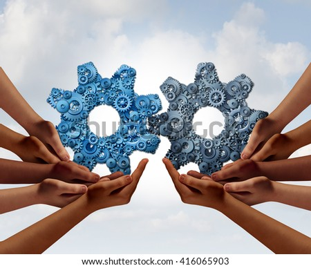 Corporate teamwork and business global cooperation concept as two groups of diverse people joining together holding a giant gear made of smaller gears and cog wheels with 3D illustration elements. - stock photo